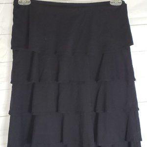 Garnet Hill Black Knit Tier Skirt  sz XS